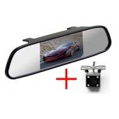 Зеркало + универсальная камера заднего вида кубик со светодиодной (LED) подсветкой